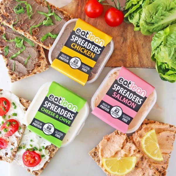 Low fat, low calorie, high protein, chicken, salmon, cheese and chive, spreads, pate, gluten free, recyclable