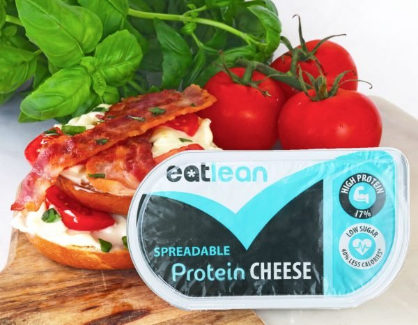 Low fat, low calorie, high protein spreadable cheese on bagel