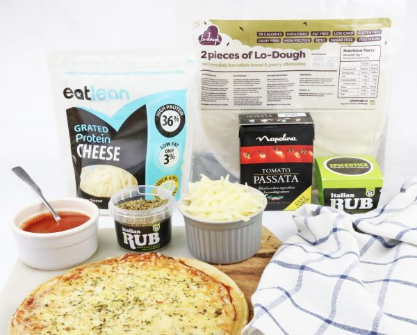 low fat, low calorie, high protein, lactose free, gluten free, cheese, vegetarian, pizza kit, low fat pizza kit, guilt free pizza, diet pizza,
