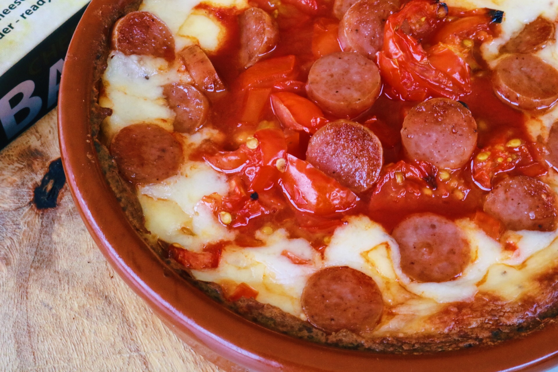 low fat, high protein, cheese bake, low fat pizza, low fat pizza pot, pizza bake, cheese and chorizo