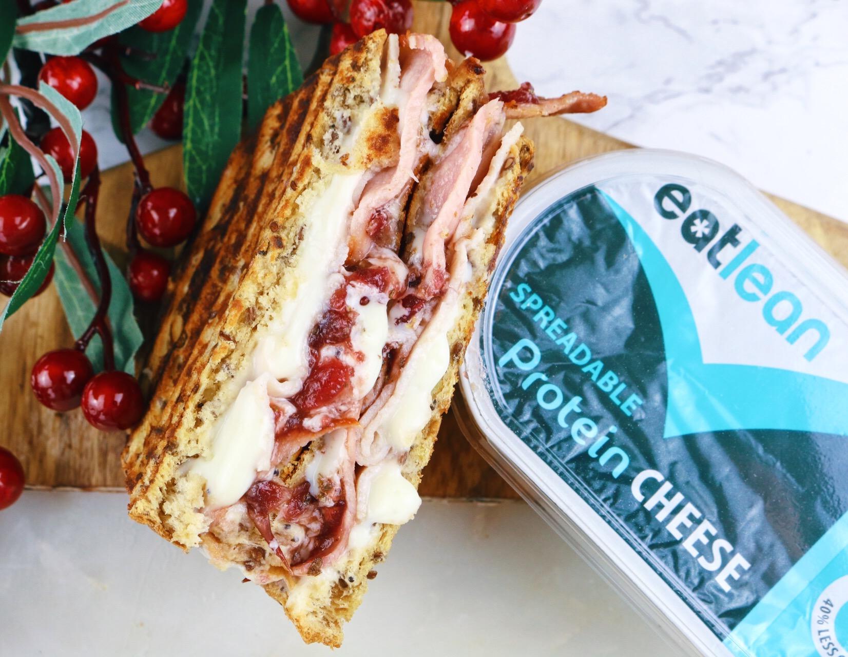 Eatlean spreadable cheese and bacon christmas toastie