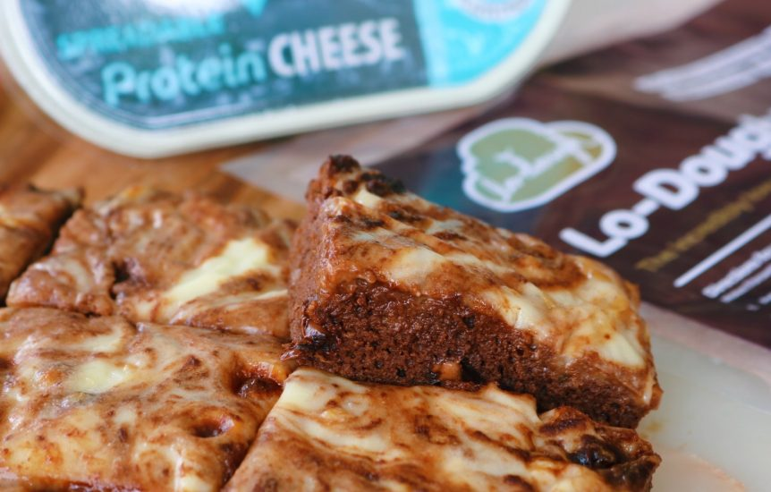 low fat chocolate brownies using lo-dough and spreadable protein cheese