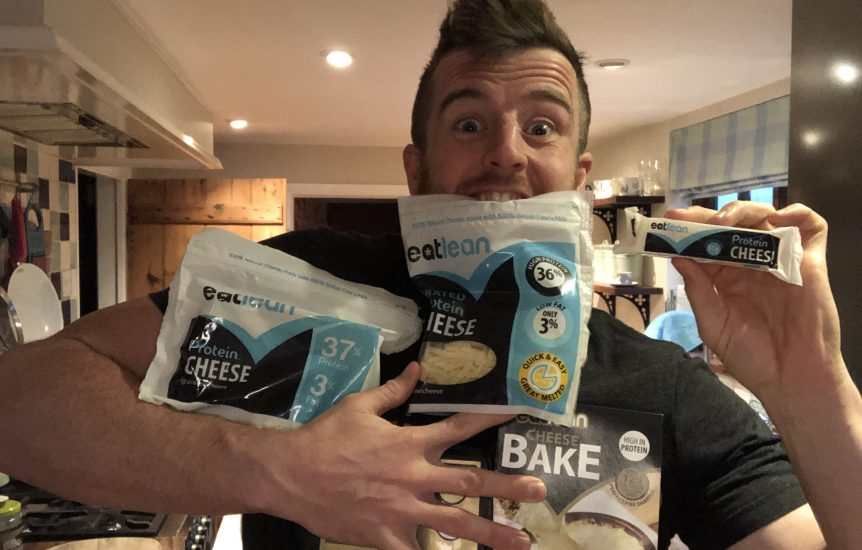 Eatlean Nutritionist Ben Coomber holding Eatlean protein cheese