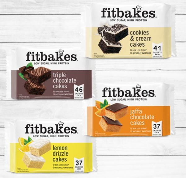 Fitbakes lemon drizzle, jaffa orange, triple chocolate, cookies and cream cakes