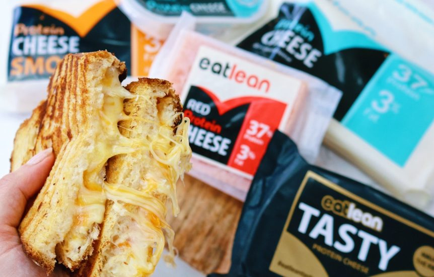 Five cheese toastie with Eatlean cheese range in the back ground