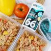 Healthy cheesy pasta lunch for kids using eatlean spreadable protein cheese