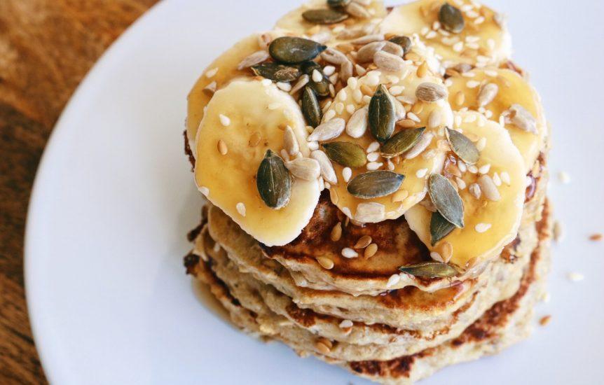 Low Fat Caramel Banana Pancake Stack