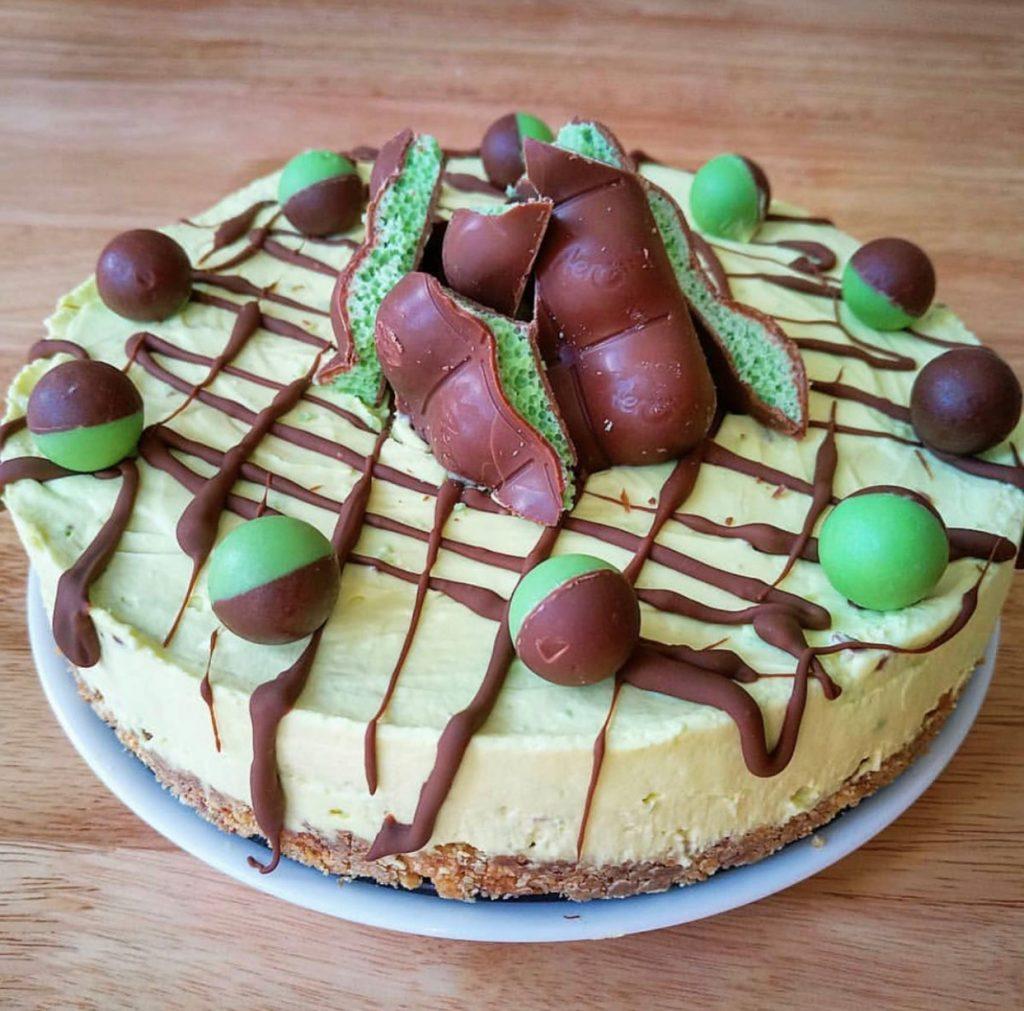 Mint aero cheesecake using Eatlean spreadable protein cheese